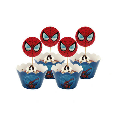 Spider Man Cupcake Paper Decorating Set 12pcs Toppers /Picks And 12pcs Wrappers - Spiderman Cupcake Picks
