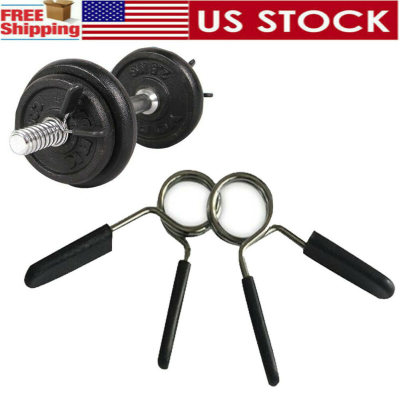 1Pair 1 Barbell Gym Weight Bar Dumbbell Lock Clamp Spring Collar Clips