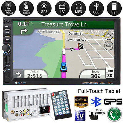 "Bluetooth 7"" 2Din In Dash Car MP3 MP5 Radio TV Player GPS Navi Touch + Camera"