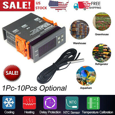 Mini Digital 110v Temp Controller Thermostat -58194 Fahrenheit Sensor 10a V5s3