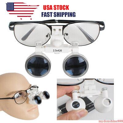 New Black Dental Surgical Medical Metal Binocular Loupes 2.5x420mm Optical Glass