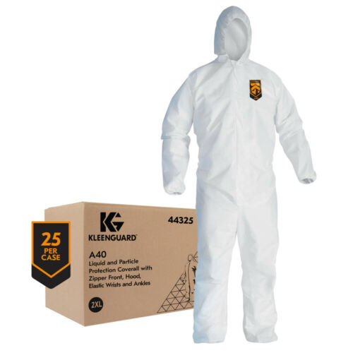 Protective Coveralls, Kleenguard A40, White, Zipper & Hood, CASE of 25