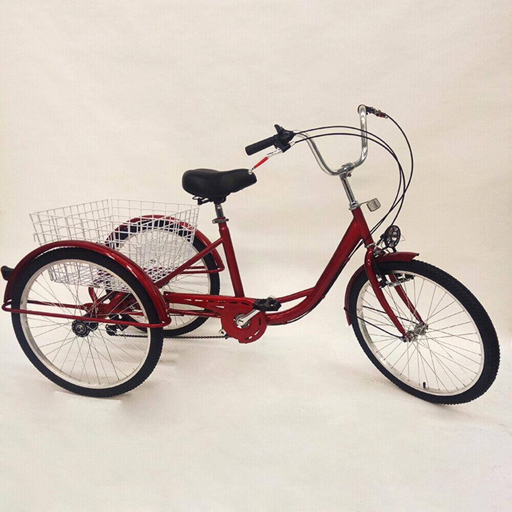 Radsport 24 6 Speed Erwachsene Fahrrad Adult Trike Dreirad Cruise Bicycle Sattel+lampe