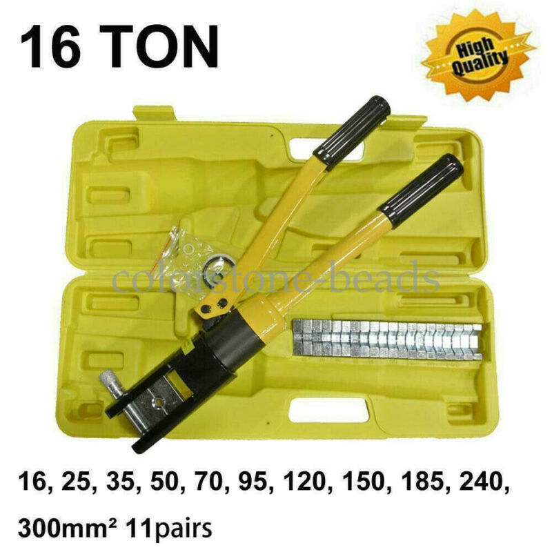 """16 Ton 18.5"""" Hydraulic Wire Terminal Crimper Crimping Tool Pliers Set w/ 11 Dies"""
