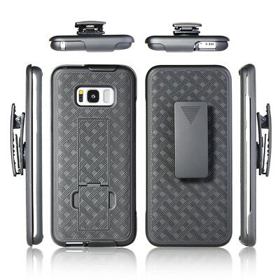 For Samsung Galaxy S8 PLUS Holster Belt Clip Stand Hard Case Cover Matte Black