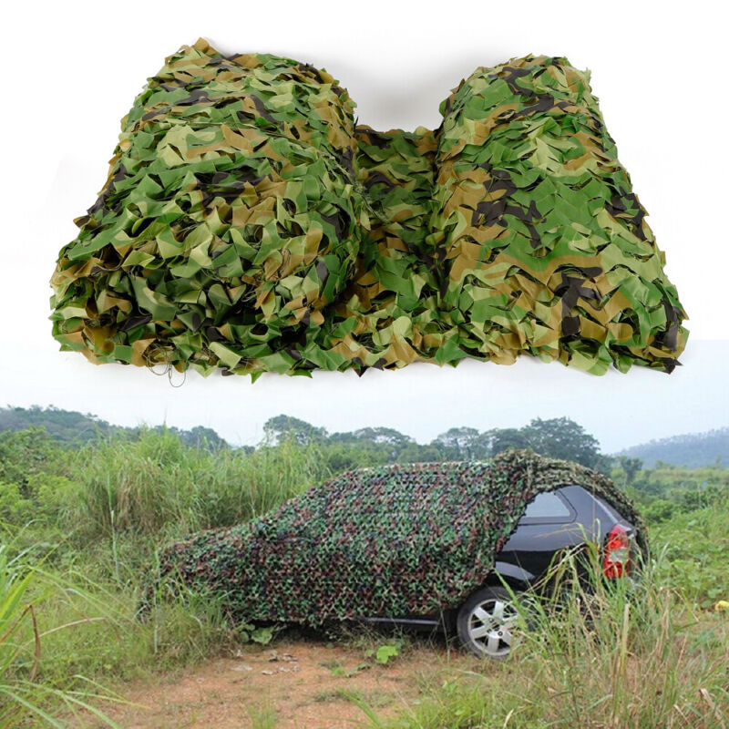 26 x 26FT Woodland Leaves Military Camouflage Net Hunting Camo Camping Netting