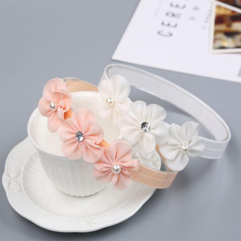 Baby Girl Pearl Flower Headband Elastic Hairband Baby Hair Accessories