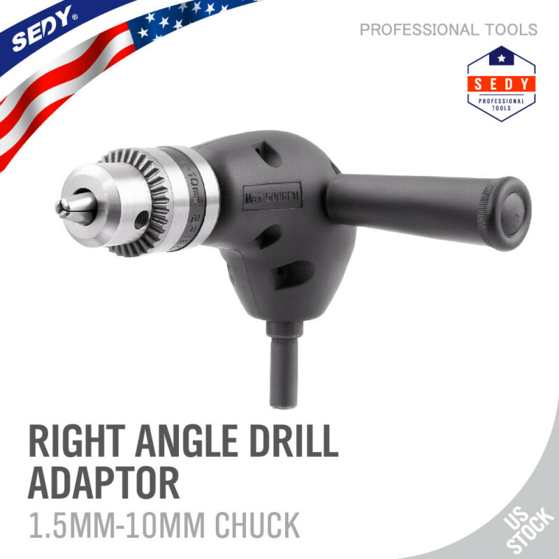 "Angle Adaptor Metal Gear 90 DEGREE Right Angle Drill Attachment 3/8"" Chuck NEW"