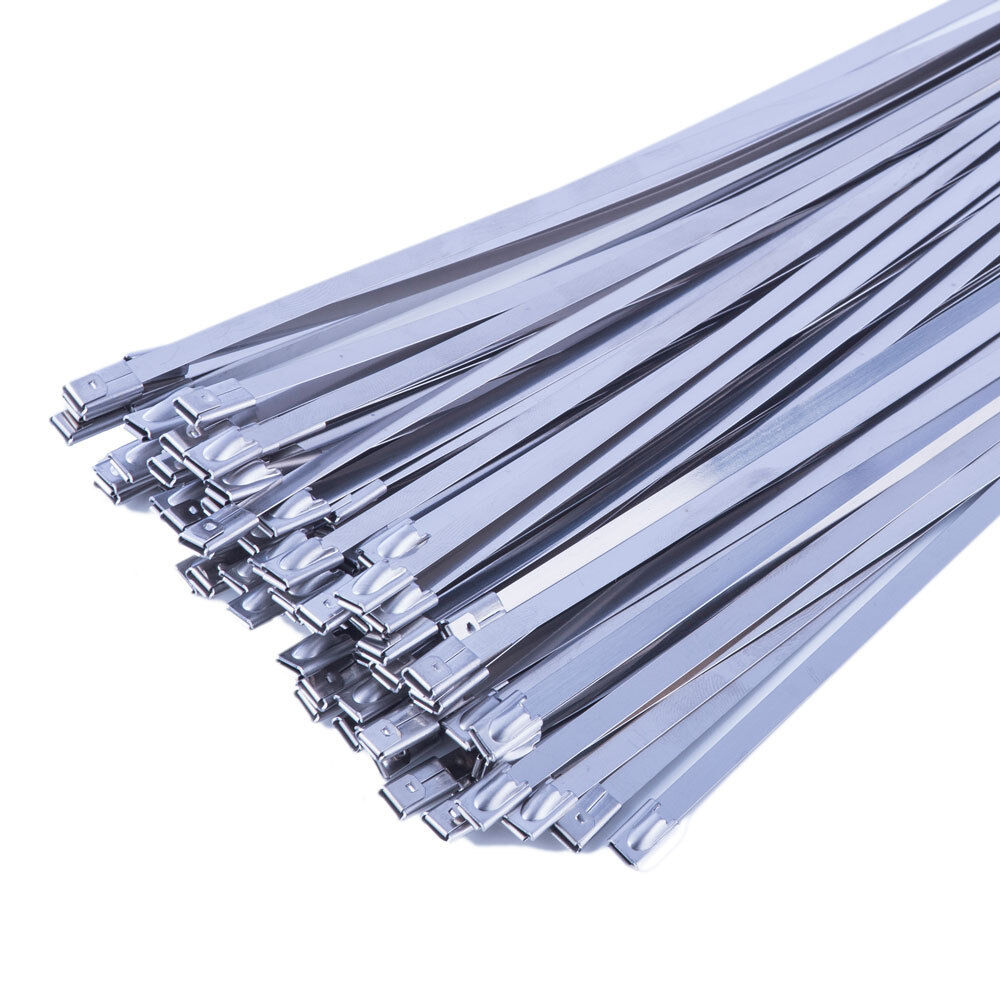 10pcs Stainless Steel Marine Grade Metal Cable Zip Ties Exhaust 520mm x 4.6mm