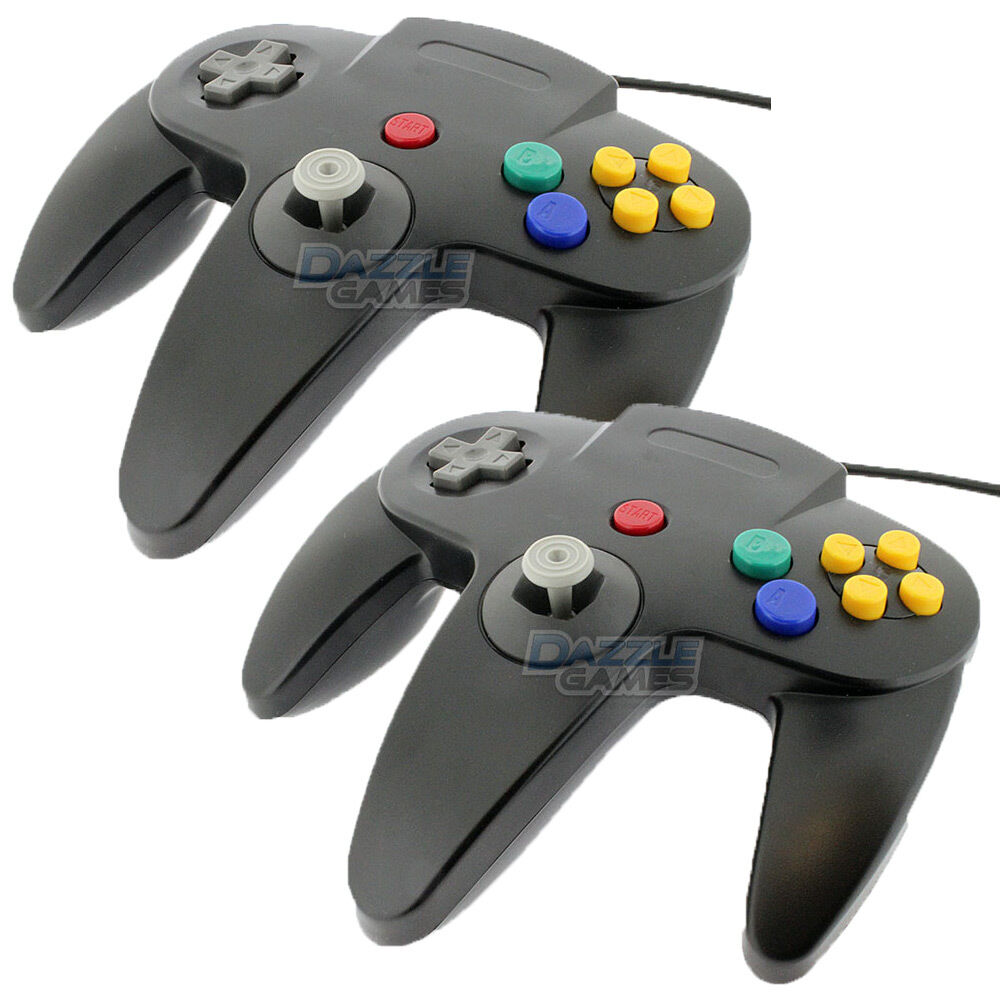2 PCS NEW Long Controller Game System for Nintendo 64 N64 Black US Ship