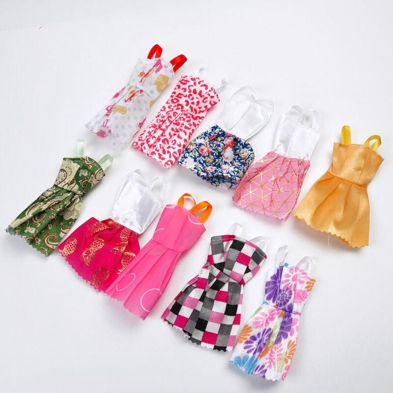 For Baby Girls Toys Plastic Doll Dresses Handmade Clothes 10pcs / Set Random