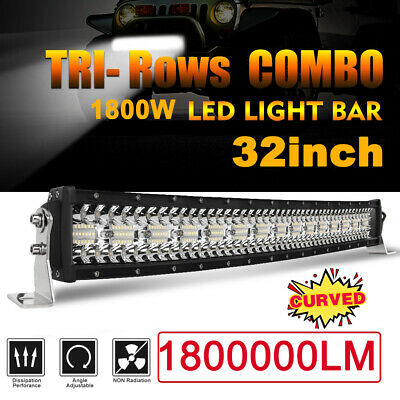 TRI-Row 32inch 1800W Curved LED Light Bar Spot Flood Truck Offroad VS 30