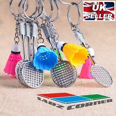 CUTE SPORT COLLECTORS GIFT BADMINTON RACKET SHUTTLECOCK KEYRING KEYCHAIN UK
