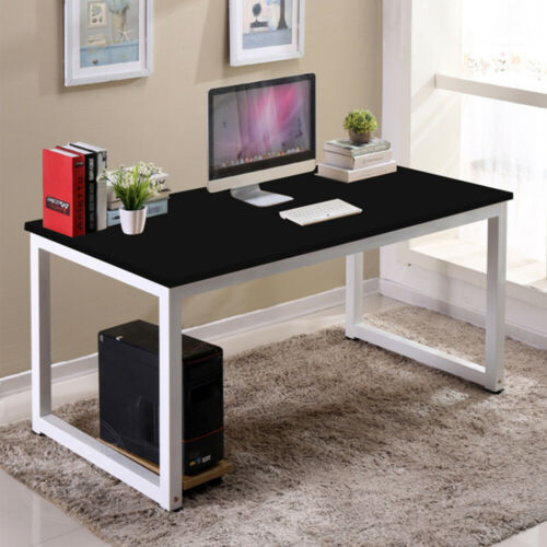 Black Study Desk Wood Computer Table Office Furniture PC Laptop Workstation New