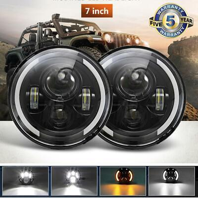 DOT For 1966-1978 Ford Bronco Black 7 inch Round LED Headlights Hi/Lo Beam DRL