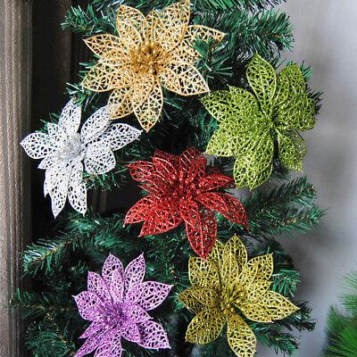 5/10X Christmas Artificial Knit Glitter Flower Ornaments For DIY Xmas Tree Decor
