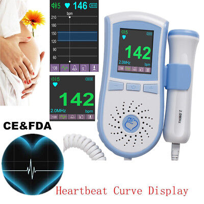 Us Color Lcd Monitor Fetal Doppler Prenatal Fetus Baby Heartbeat 2m Deep Probe