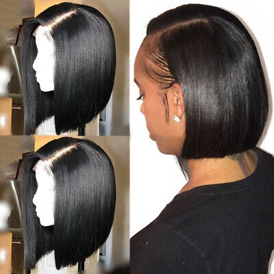 Black Silky BOB Straight Wig 100% Indian Remy Human Hair Full Lace Front Wigs -