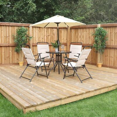 Garden Furniture - CREAM DELUXE OUTDOOR GARDEN PATIO FURNITURE SET - TABLE, 4 CHAIRS & PARASOL Wido