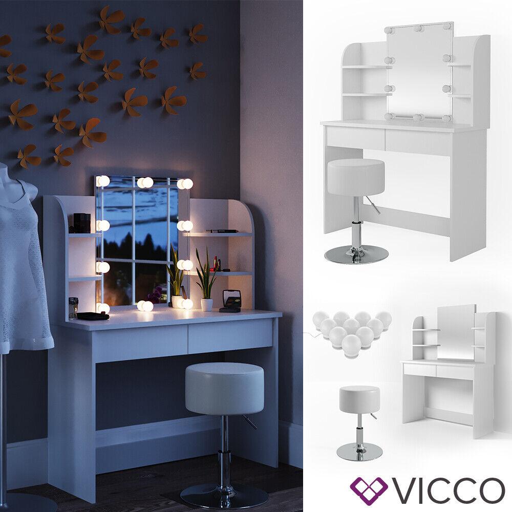 Vicco Table de maquillage Charlotte commode de coiffeuse LED