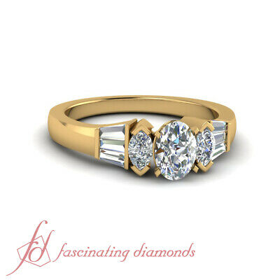 1.15 Ct Oval Shape Diamond And Baguette Unusual Marquise Cut Engagement Ring GIA
