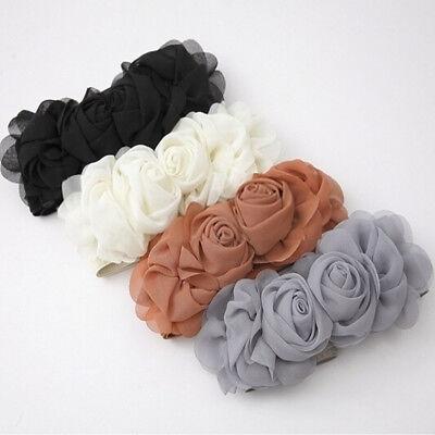 Rose Waistband - Dress Adornment Double Rose Flower Wide Waist Corset Belt Elastic Waistband