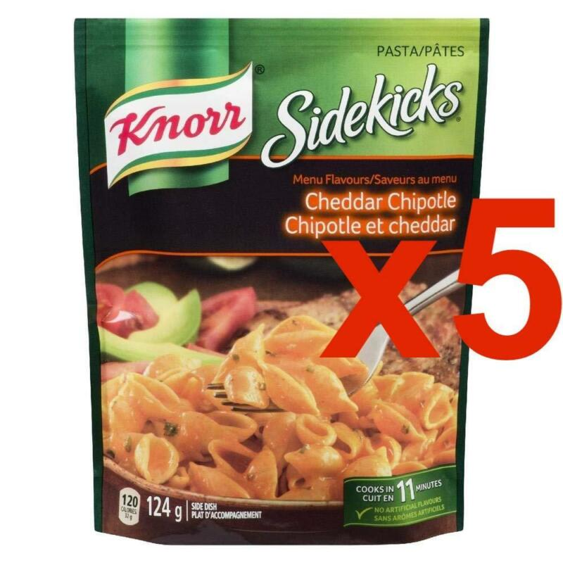 5 Packages of Knorr Sidekicks Cheddar Chipotle Pasta 124g