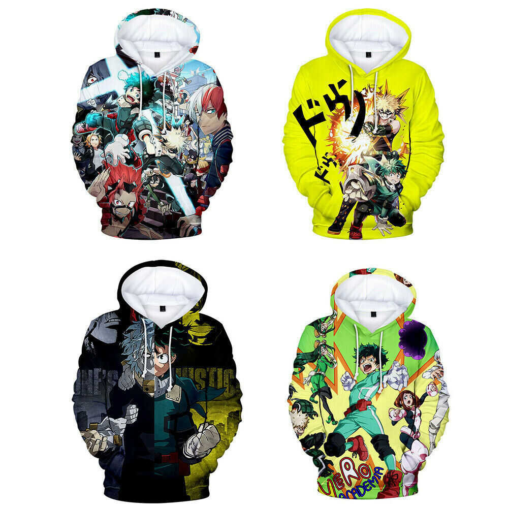 3D Anime Boku no My Hero Academia Hoodie Casual Sweater Pullover Sweatshirt Activewear