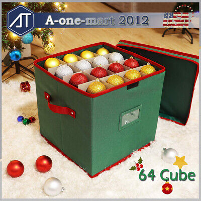Christmas Ornament Storage Box with Lid for Holiday Xmas Decor Holds 64 Balls ()