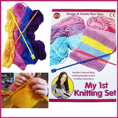 Fun Kids Knitting Set Craft Pack Girl's Stitching Play Wool Knit Learning Kit