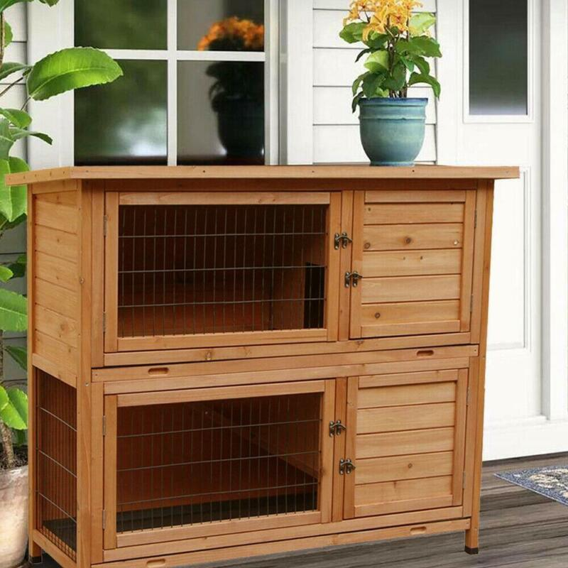 """New 48"""" Wooden Rabbit Hutch Chicken Coop Hen House Poultry Pet Cage"""