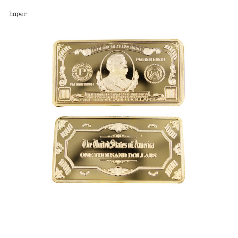 1000 Dollar 24k Gold Plated Gold Bar Holiday Gifts Commemorative Metal Bars