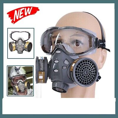Full Face Gas Mask Chemical Spray Painting Vapour Respirator+Goggles&Cartridges-