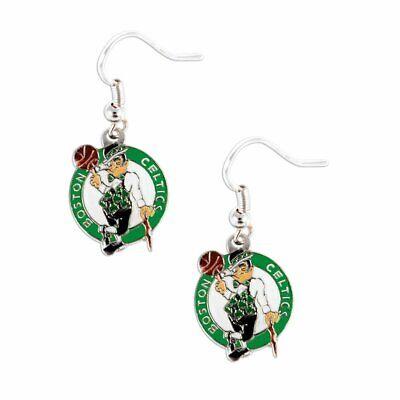 Boston Celtics Logo NBA Silver Dangle Earrings 3D Logo Hypo-Allergenic Aminco - Nba Boston Celtics