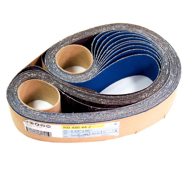 "Hermes 2-1/2"" x 60"" Abrasive Sanding Belts 36 Grit RB 486 44 Z (Pack of 10)"