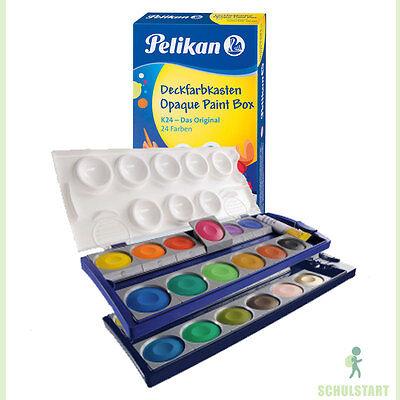 PELIKAN Malkasten 24 Farben + Deckweiß Kinder Farbkasten Tuschkasten Wasserfarbe