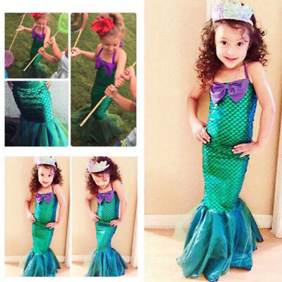 Kid Ariel Little Mermaid Set Girl Princess Dress Party Cosplay Costume Outfits](Little Mermaid Girl Costume)