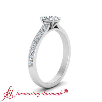 Platinum 0.75 Ctw Oval Shaped FLAWLESS Diamond Princess Accented Engagement Ring 2