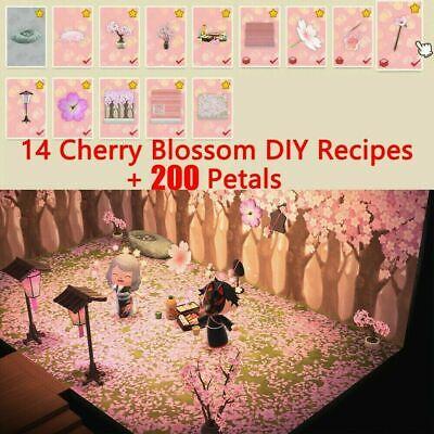 🌸Animal Crossing New Horizon Cherry Blossom DIY + 200 Petals + All 14 DIY🌸