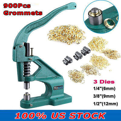 New Grommet Eyelet Hole Punch Machine Hand Press 3 Dies With 900pcs Grommets Set