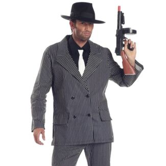 Mens Gangster Costume XL & Hat Fancy Dress Party Halloween