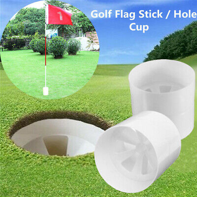 New Golf Putting Hole Cup Training Aids Putter Yard For Flag Stick White Plastic - Plastic Sticks For Flags