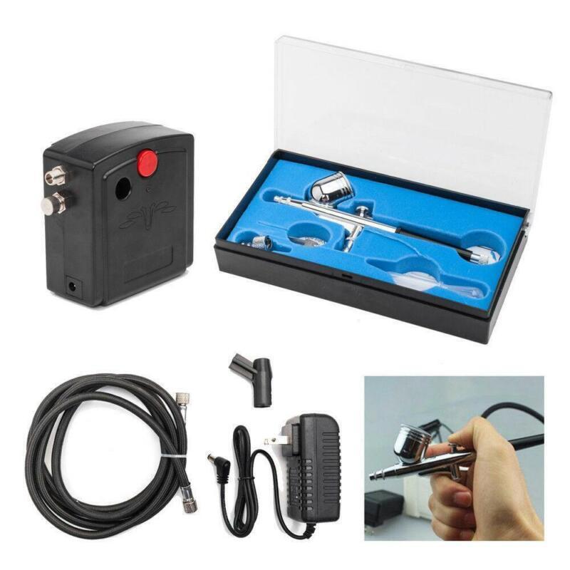 110V Precision Airbrush Compressor Kit Dual-Action Spray Paint Set Tattoo Nail