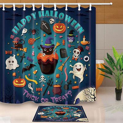 Happy Halloween Bathroom Decor Shower Curtain Waterproof Fabric w/12 Hook - Halloween Bathroom Decor
