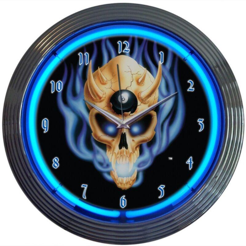 8 Ball Skull Neon Clock Billiards Pool Gameroom Basement Mancave Wall Art Decor
