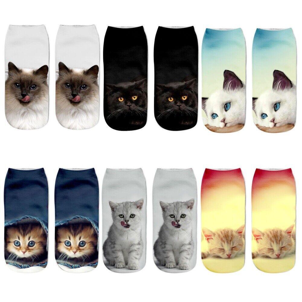 Socken mit Katzendruck Söckchen Sneaker Katzen Socke Strümpfe Eyecatcher Katze