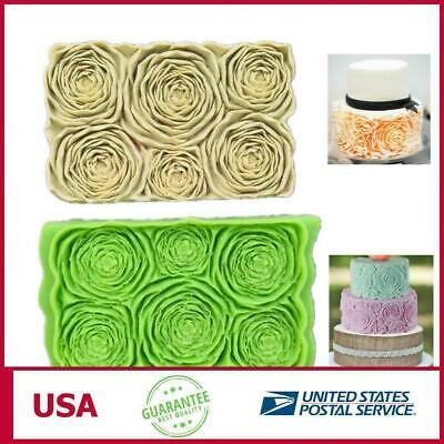 Halloween Cake Fondant (Halloween Party DIY Rosette Ruffle Roses Silicone Mold Fondant Cake Baking )