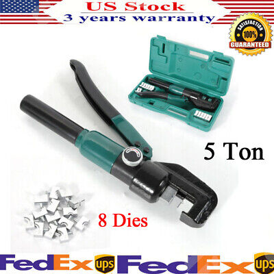5 Ton Hydraulic Crimper Crimping Dies Tools Wire Battery Cable Lug Terminal Box