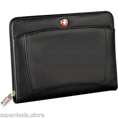 Wenger Jr. Size Zippered Padfolio Memo Writing Pad Journal - Black