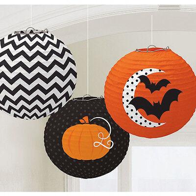 3 X Halloween Papier Laternen Wandbehang Partydekorationen Orange & Schwarz